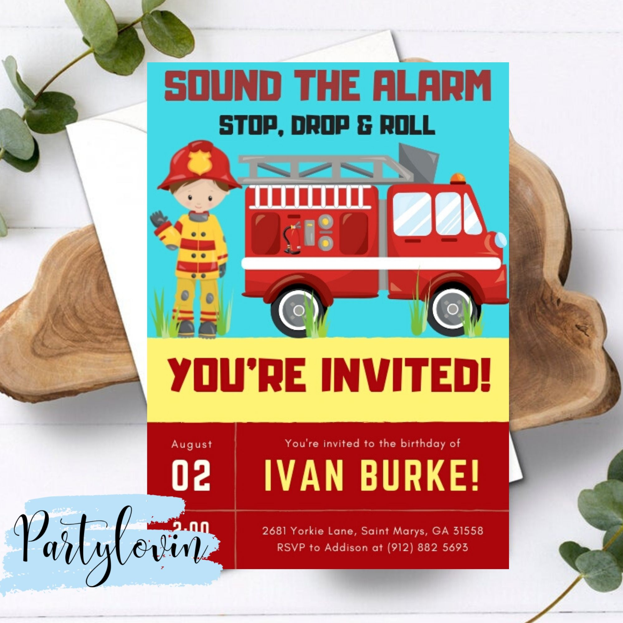 Little Chief Firefighter Invitations