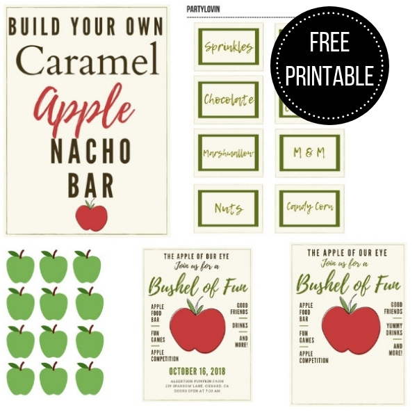 FREE PRINTABLE CARAMEL APPLE NACHO BAR