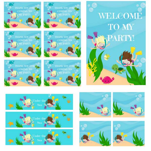 FREE PRINTABLES Under the Sea Birthday Party Printables!