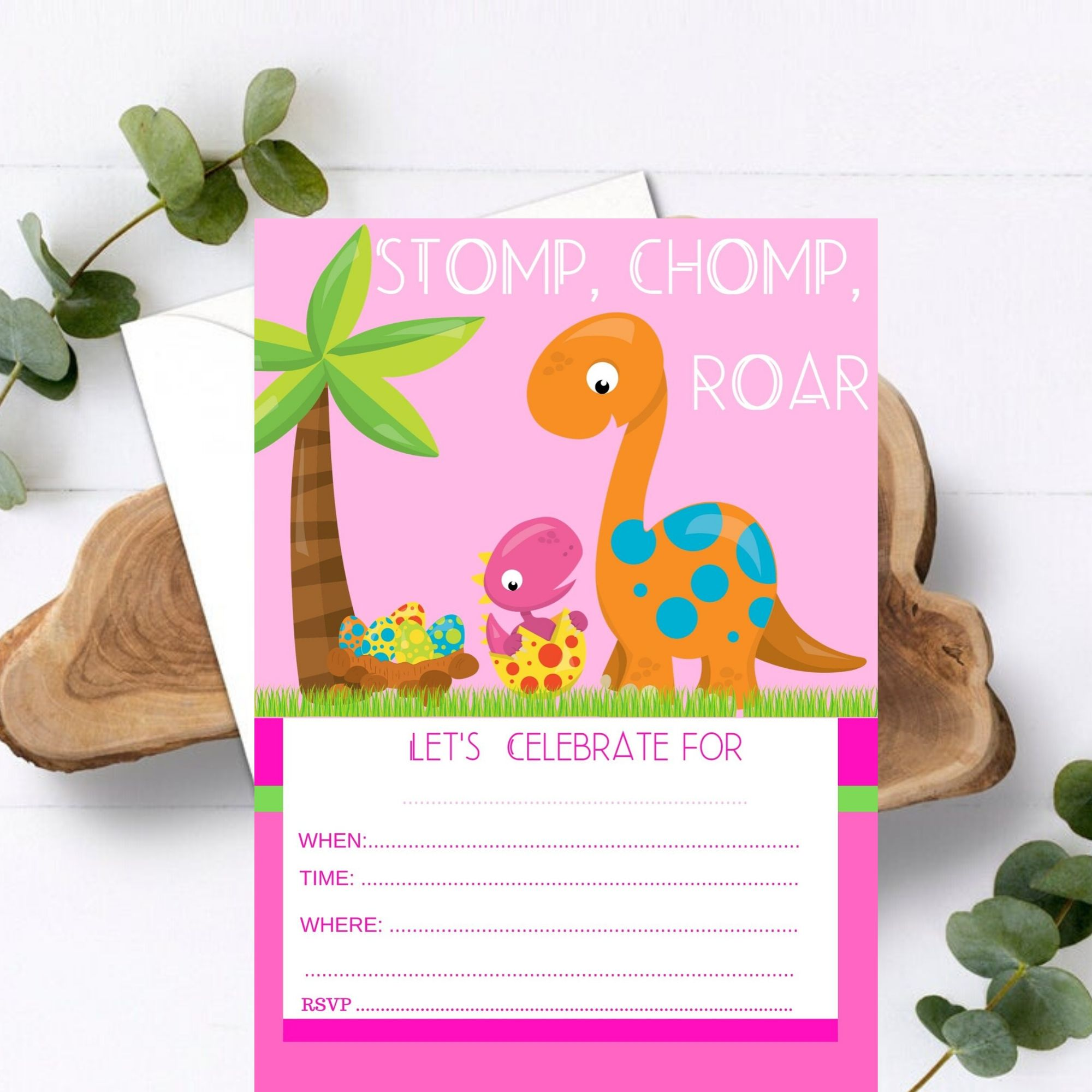 FREE PRINTABLE Girly Girl Pink Dinosaur Party Printable
