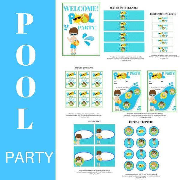 FREE PRINTABLE Pool Summer Party Boys