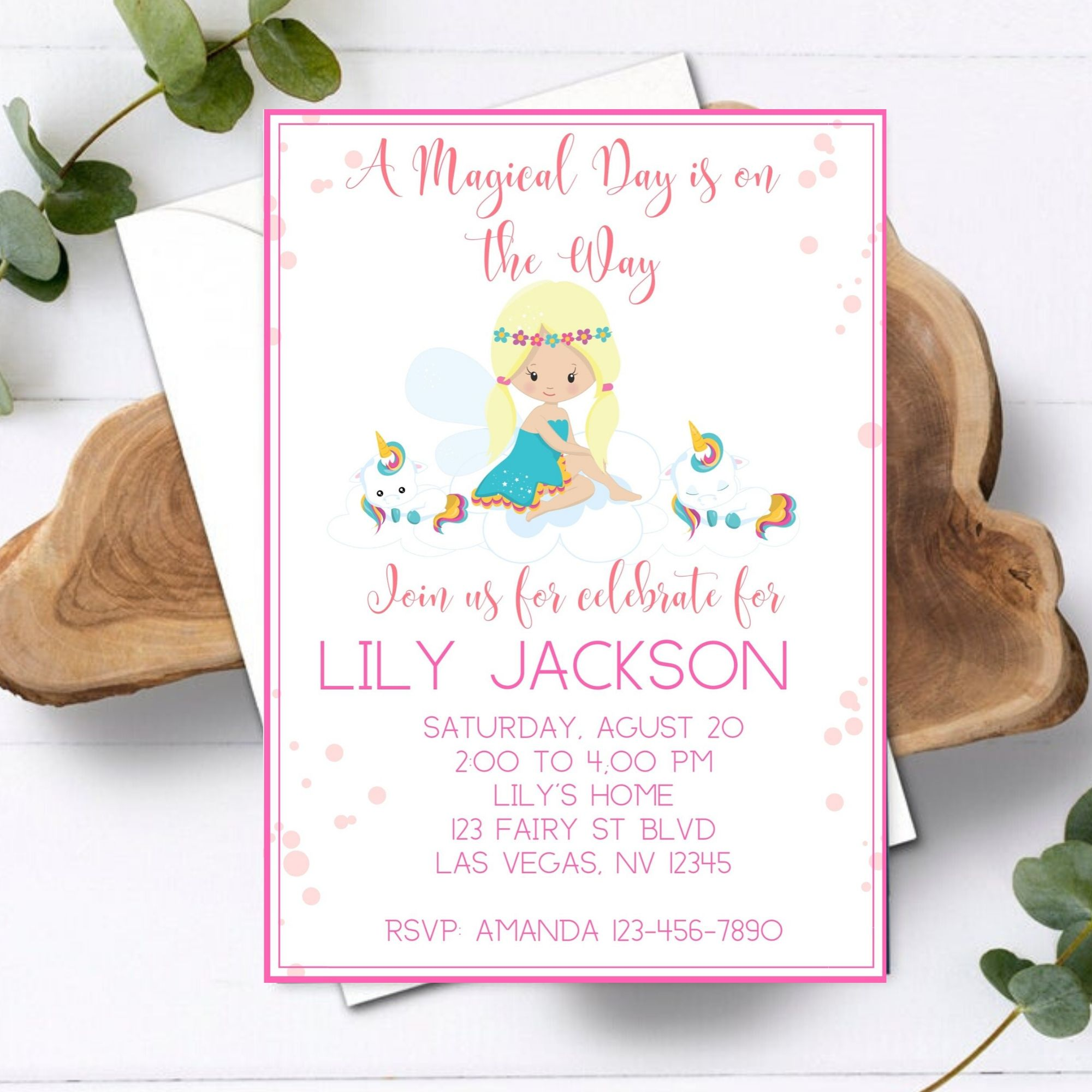 FREE PRINTABLE Unicorns Birthday Party Baby Girl