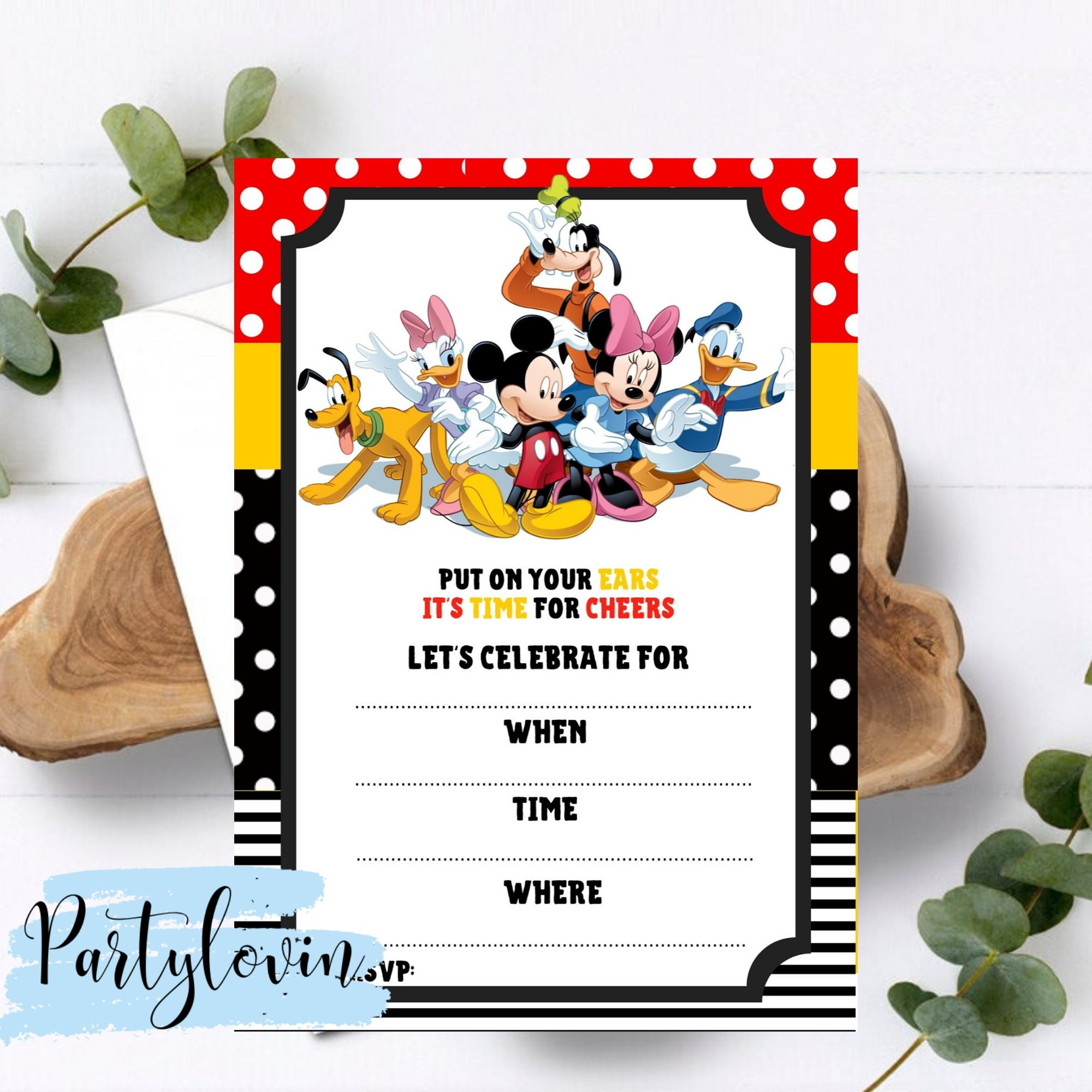 FREE PRINTABLE Mickey Mouse & Friends Birthday Party Invitation