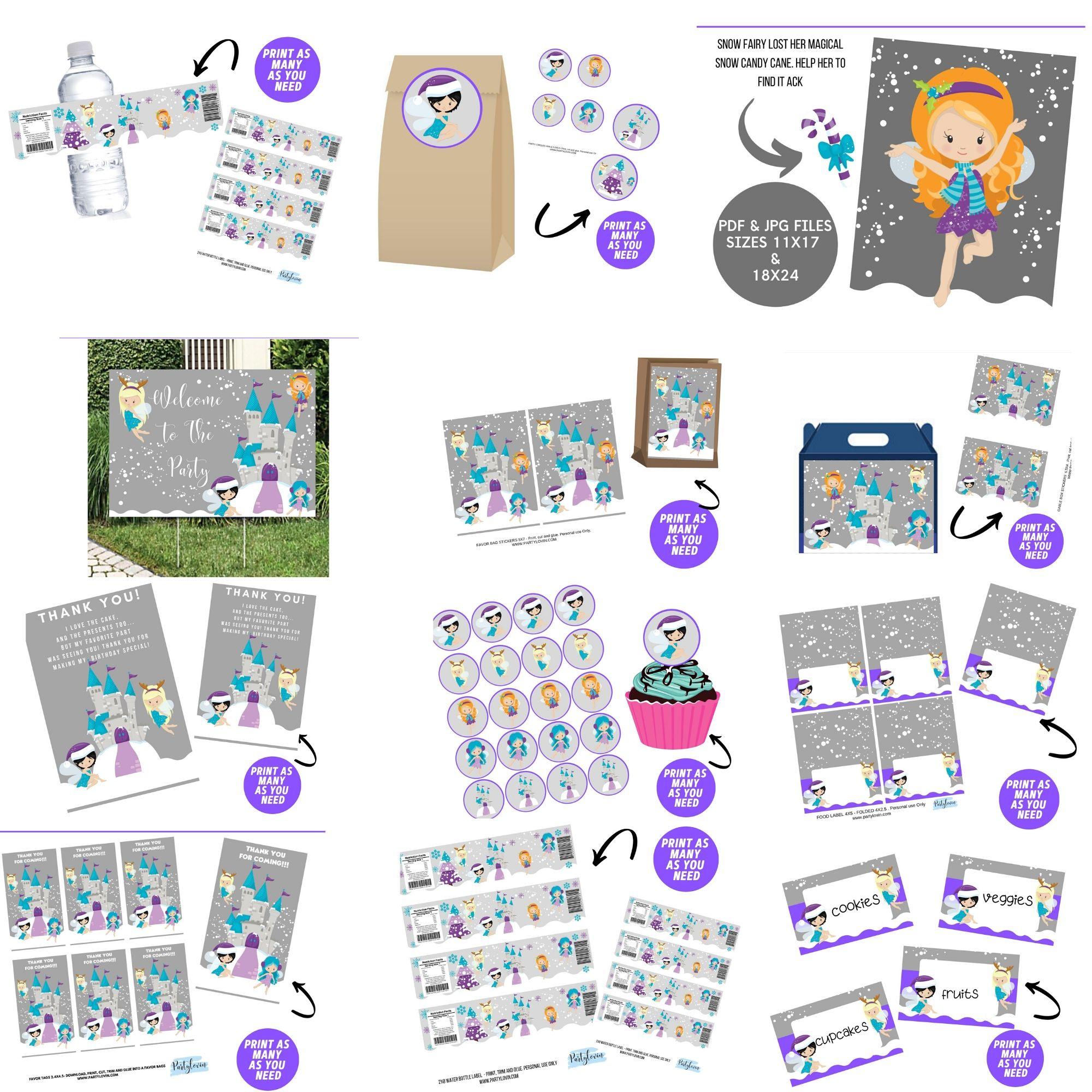 Snow Fairies Birthday Party Printables