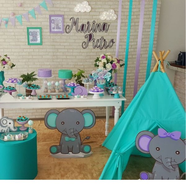 Silver & Blue Elephant Baby Shower