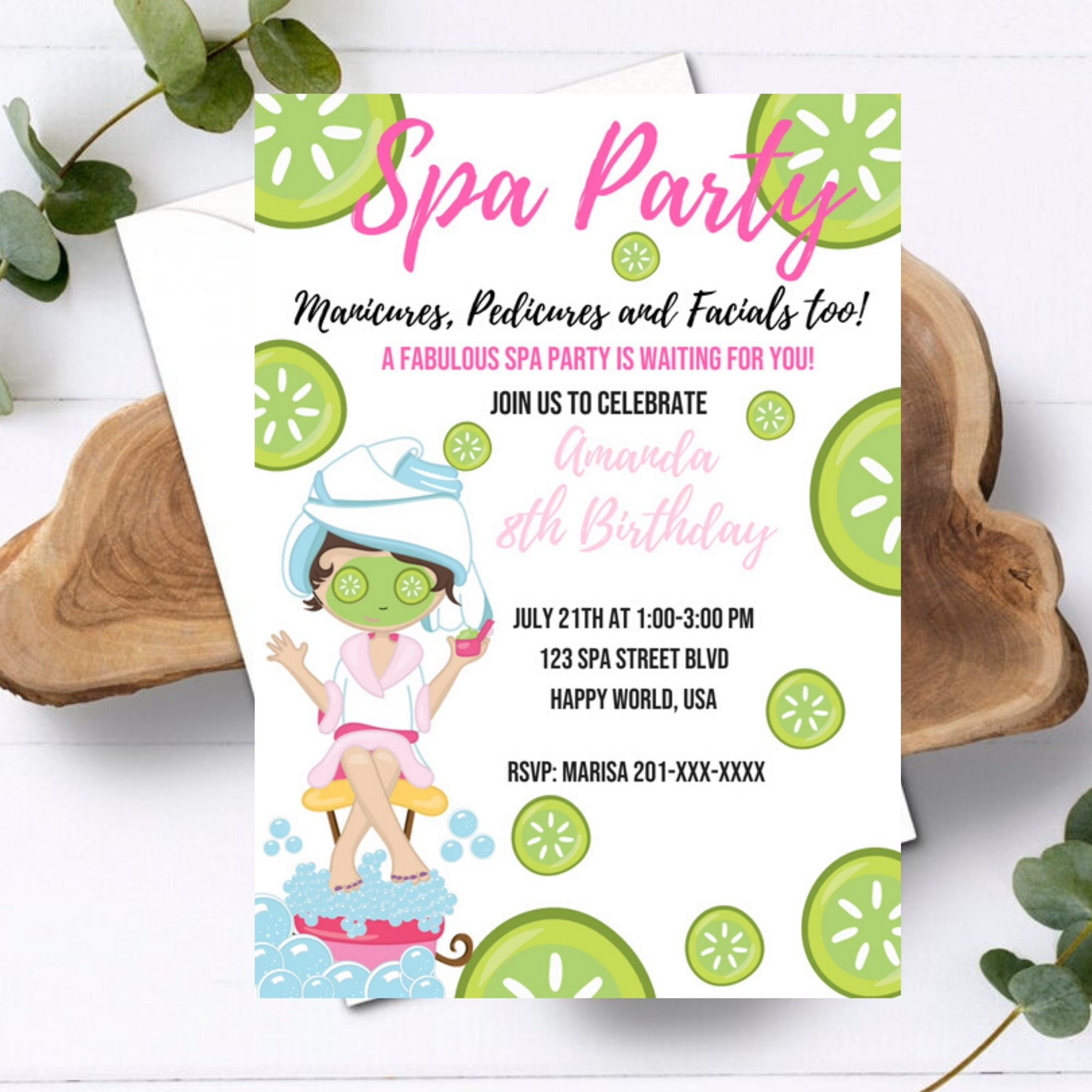 Manicures, Pedicures and Facial too! Spa Party Birthday Invitation