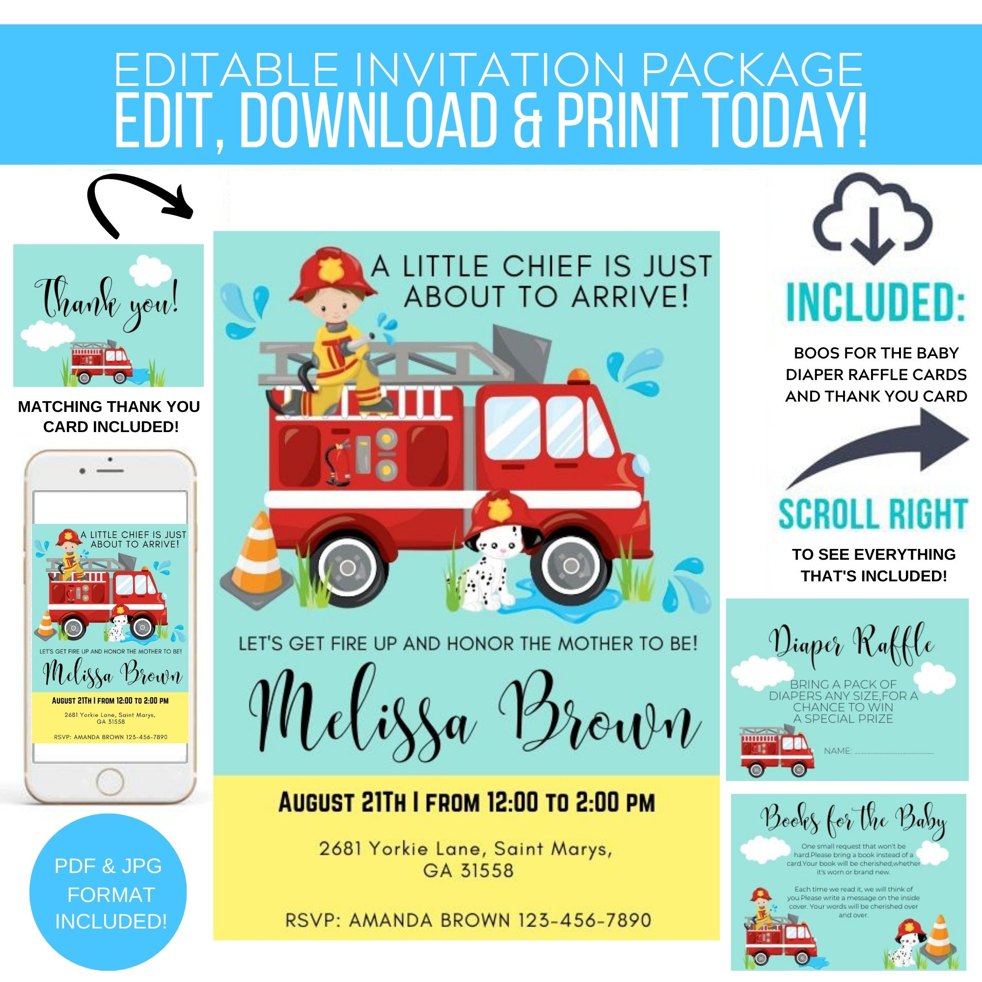 It's a Boy Firefighter Shower Printable