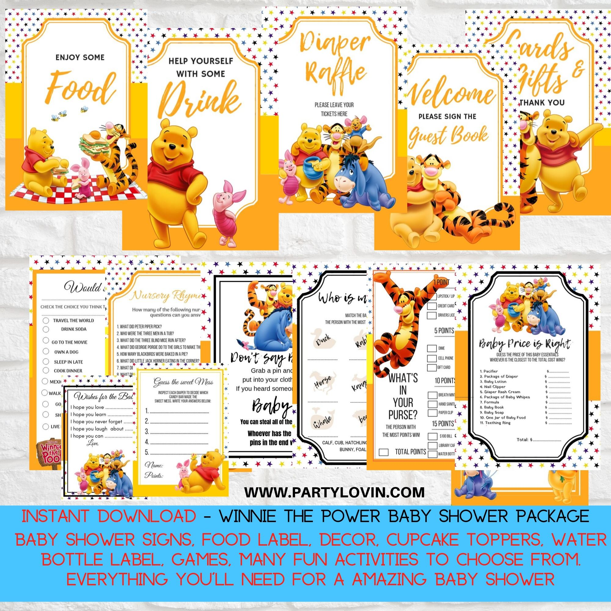 Winnie The Pooh Baby Shower Printable