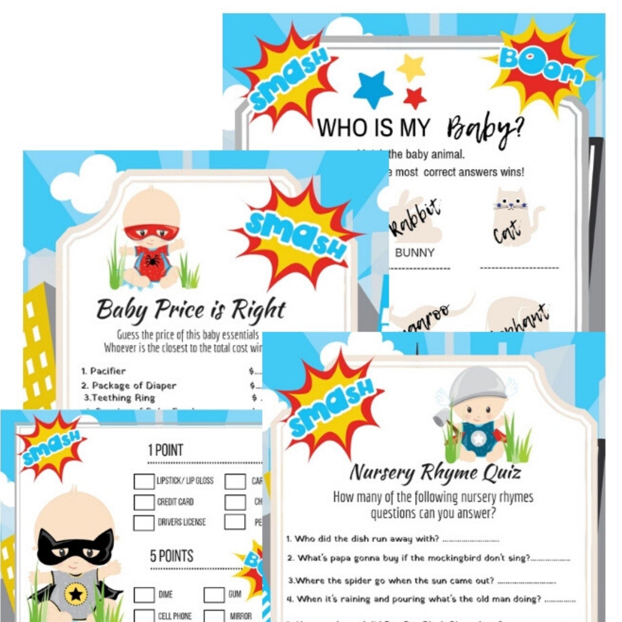 Super Hero Baby Shower Printable
