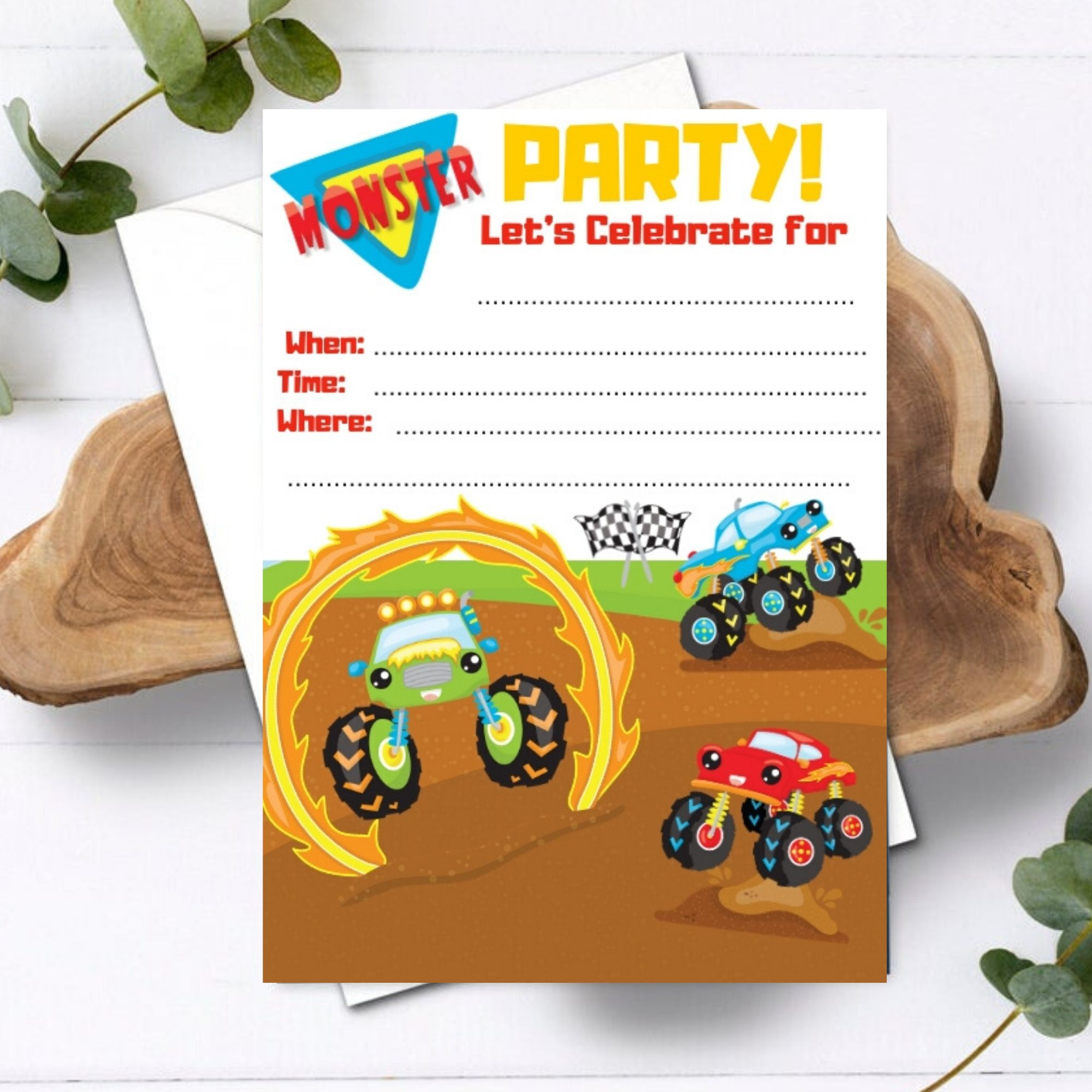 FREE PRINTABLE Monster Truck Birthday Party