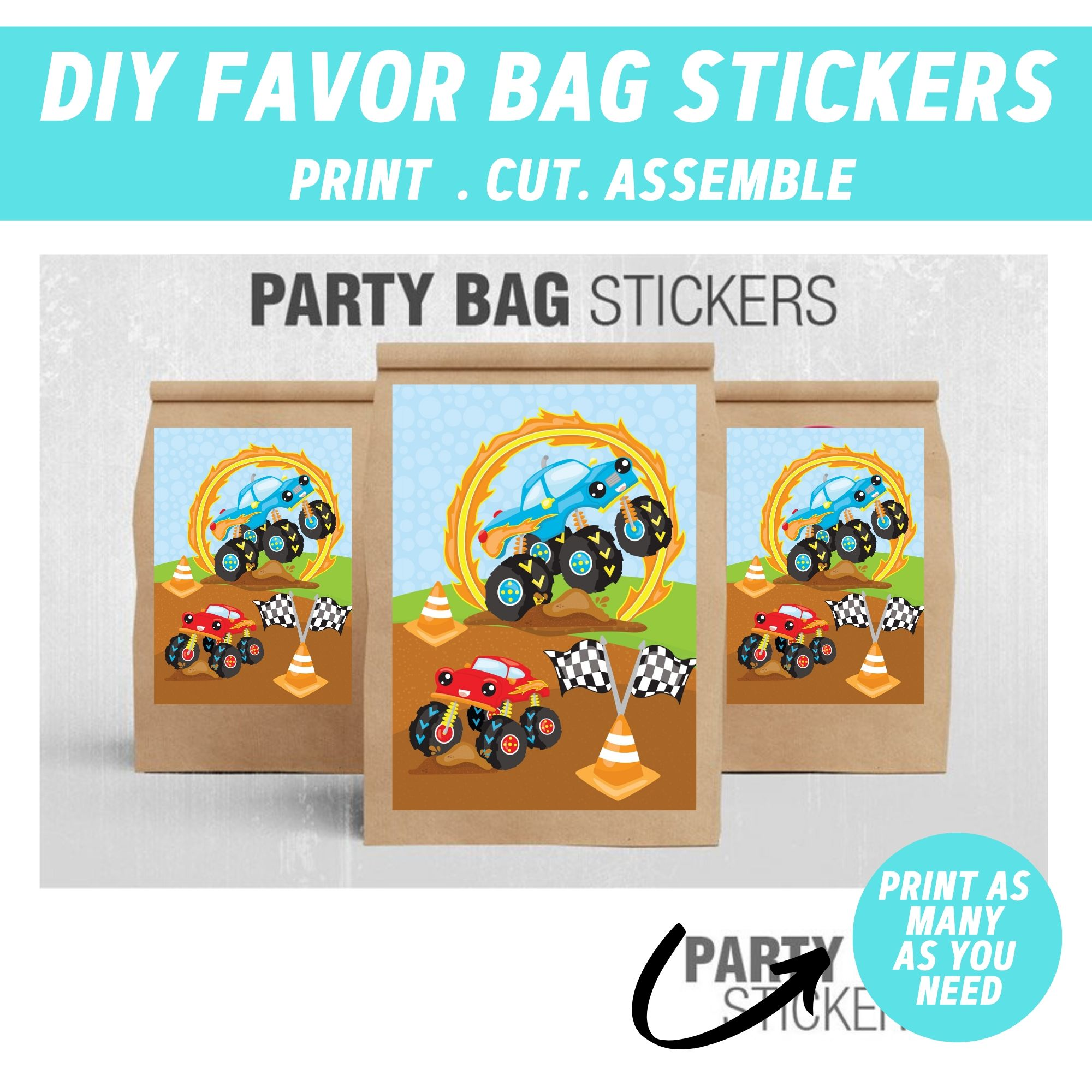 PRINTABLE Monster Truck Birthday Party Package
