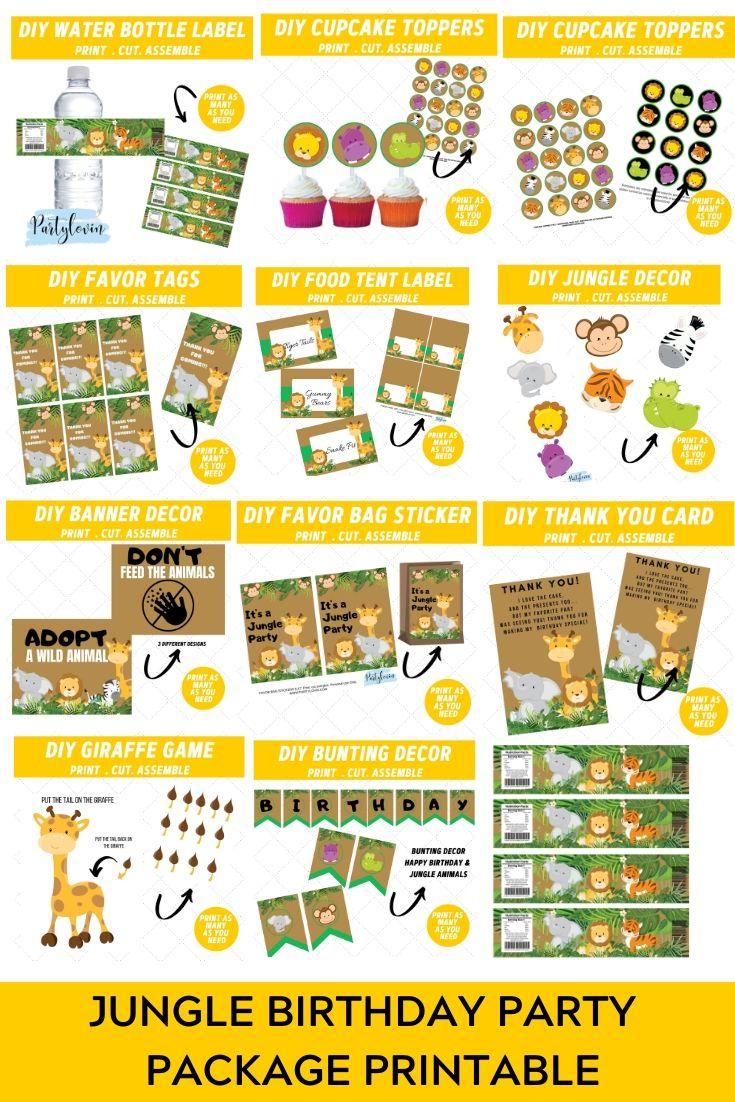 Jungle Safari Birthday Party Package Printable