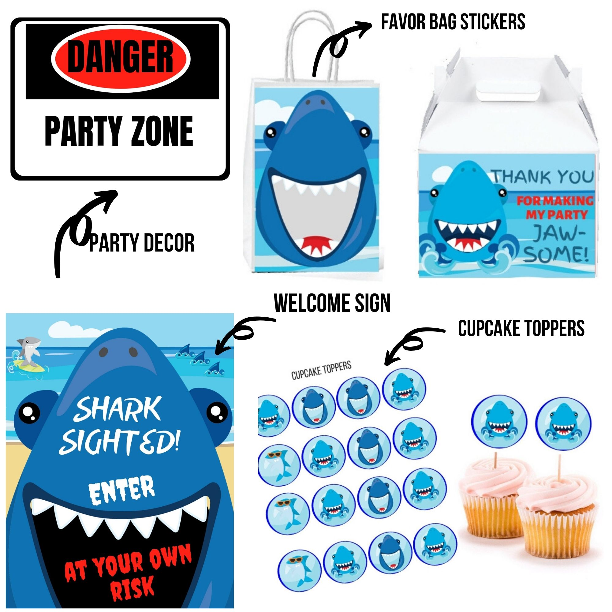 Shark Birthday Party Package Printable