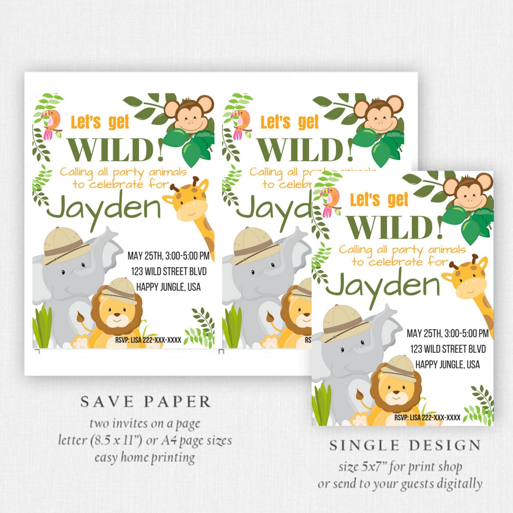 FREE PRINTABLE Jungle Safari Birthday Party