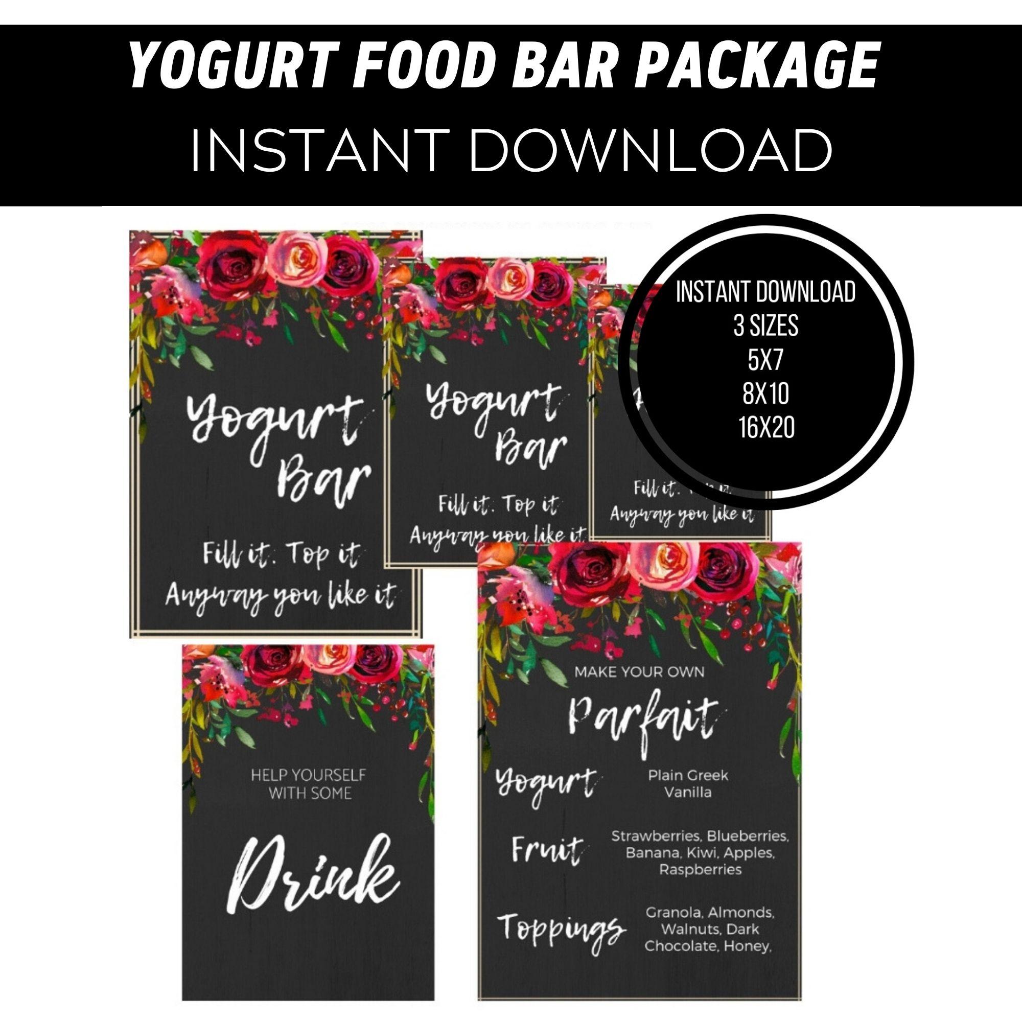 Yogurt Food Bar Printable Package