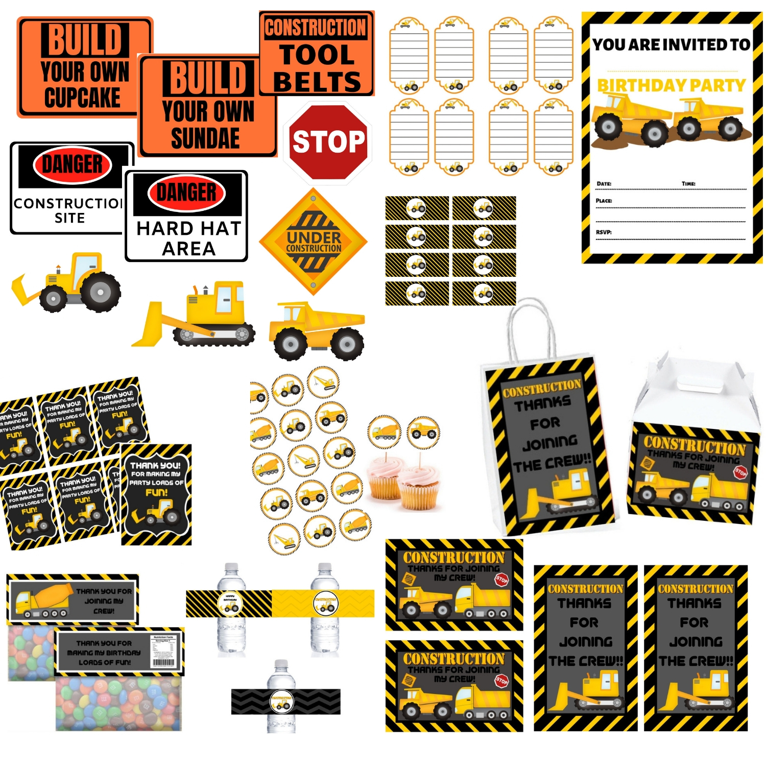 Construction Birthday Party Printable