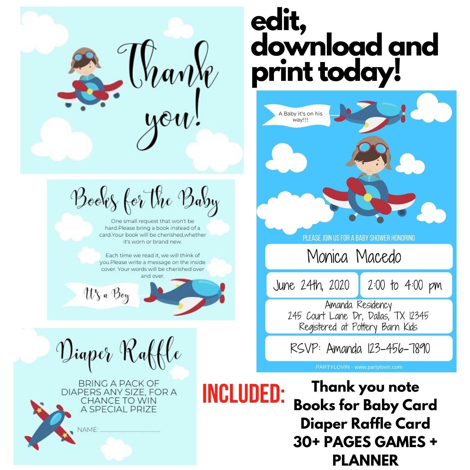 Baby Shower Airplane Invitation It's a Boy