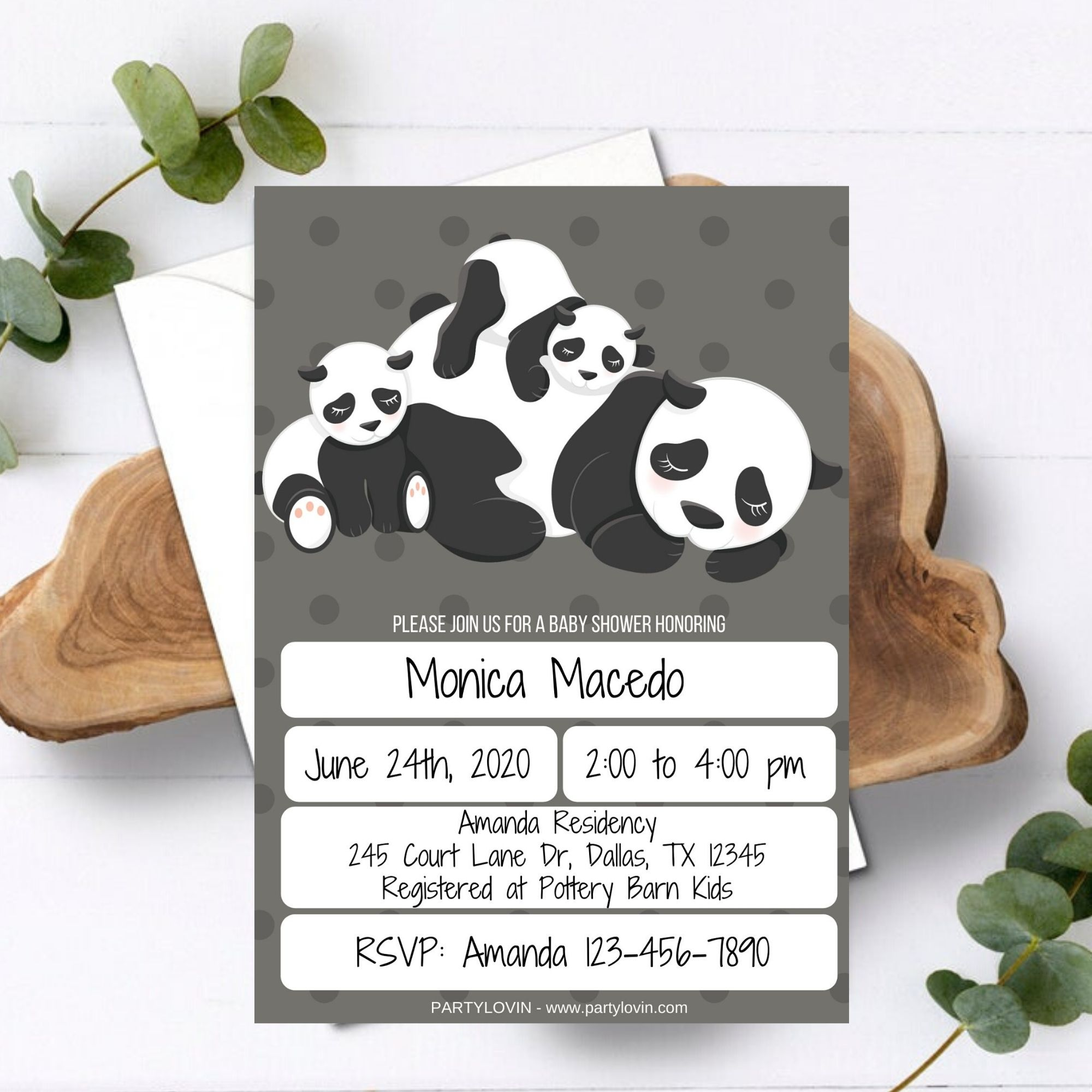 FREE PRINTABLE Baby Panda Baby Shower Invitation